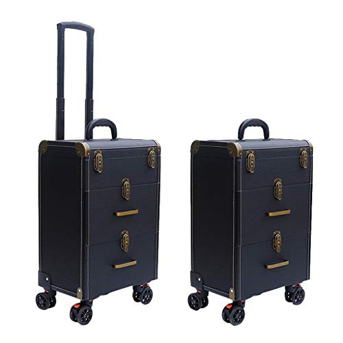 Professional Cosmetic Case, Makeup Trolley Case, Three Floors High Capacity Tattoo Eyebrows Toolbox, Four Aircraft Wheels with Brakes, Rolling Trolley Case