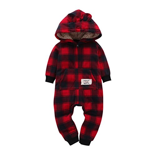 Christmas Grid (Oklady Christmas Baby Boys Girls Red Black Grid Fleece Rompers Jumpsuit Hooded Pocket Bobysuit Pajamas Clothes(9 Months))