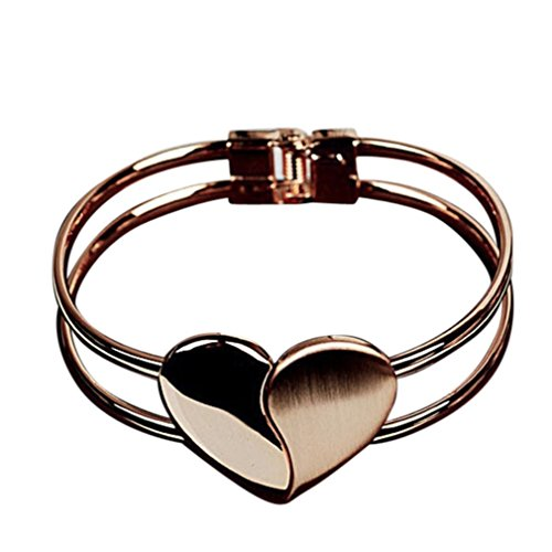 Heart Elegant Style (Palarn Bracelets, Fashion Style Gold Lady Elegant Heart Bangle Wristband Cuff Bracelet (Gold))