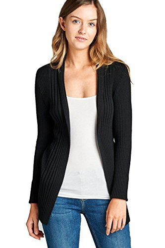 YourStyle Ribbed Knit Cardigan Sweaters-Open Front Long Sleeve (Medium, Black) (Ribbed Open Cardigan)