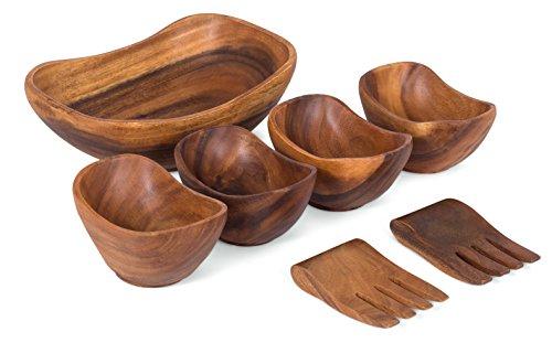 BirdRock Home Oval Boatshape Salad Bowl | Acacia Wood Server Set of 7 | Salad Hands | Small (Wood Salad Set)