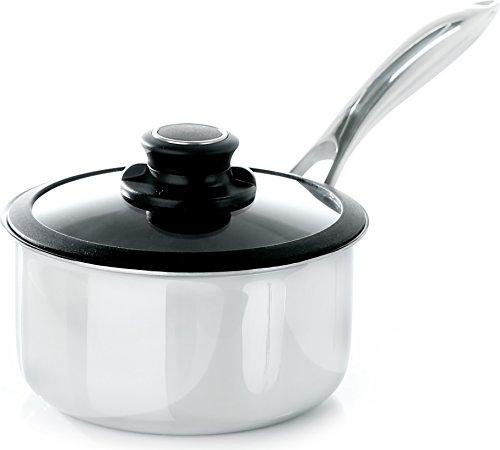 Frieling USA Black Cube Hybrid Stainless/Nonstick Cookware Saucepan with Lid, 8-Inch Diameter, 2.5 Quart