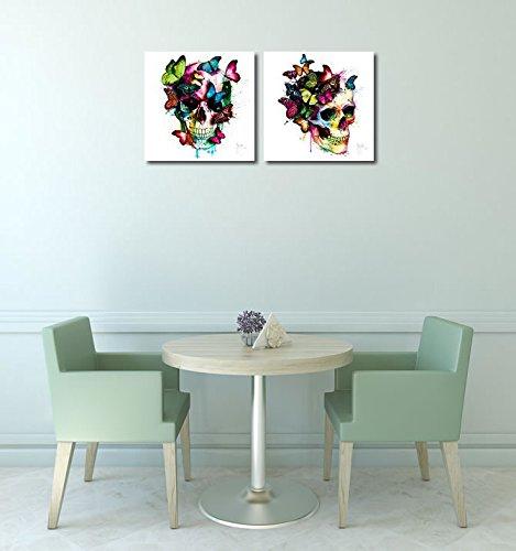 Fertig-Bild - Patrice Murciano    Les couleurs de l´âme II 50 x 50 cm Totenkopf mit Schmetterlingen Skull bunt modern poppig Pop Art butterfly 050c0a