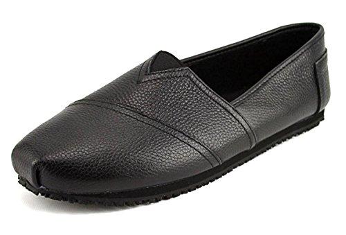 Laforst Jess 3112 Womens Work Slip Resistant Flat Slip On Shoes Black 9 Upper Flat Shoes