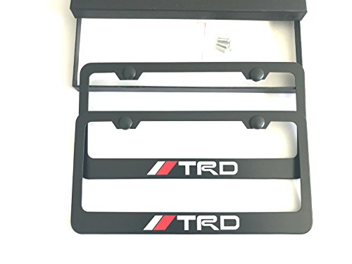 MAX WHOLESALE TRD Stainless Steel License Plate Frame Rust Free With Bolt Caps For Toyota Cover (2-Black)