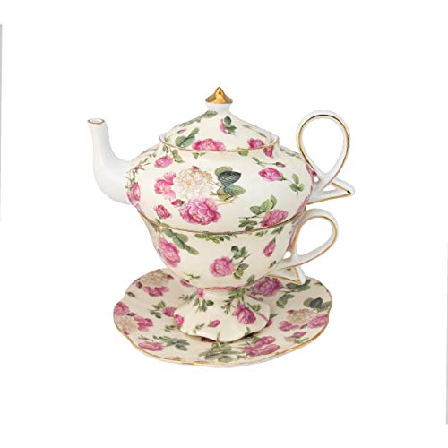 Gracie China by Coastline Imports 4-Piece Porcelain Tea for One, Stacked Teapot Cup Saucer, Pink Rose Bouquet Chintz ()