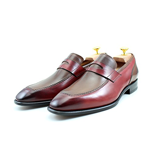 EUR UK Marron Mocassins Chaussures GIORGIO Classique Italiennes Deux US Élégant Mâle Main 10 Classic 43 Cuir REA Shoes Homme Rouge 9 Oxford Rouge Marron Tons T0HqYx0