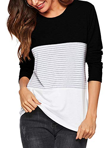 Amoretu Women's Long Sleeve Comfy Soft Striped Blouses T-Shirt Tunic Tops Black XL