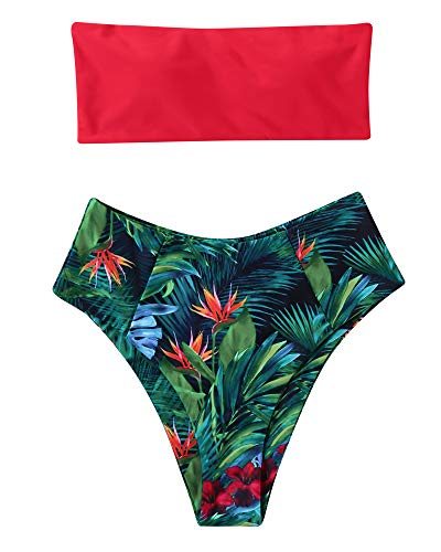 OMKAGI Women's 2 Pieces Bandeau Bikini Swimsuits Off Shoulder High Waist Bathing Suit High Cut(M,Red Plant)