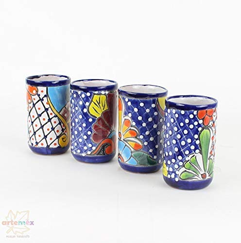 Mexican Tumbler Glasses - Mexican Glassware Set - Mexican Drinking Glasses - Tumbler Glasses - Mexican Talavera Glasses - Talavera - Mexican Talavera - Mexican Decor - SET OF 4 Glasses from Artemex - Mexican Handcrafts