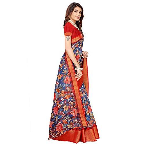41gkGgTTPEL. SS500  - Akhilam Women's Printed Linen Saree with Unstitched Blouse Piece (Blue_BGBLT80006)