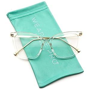WearMe Pro - New Elegant Oversized Clear Cat Eye Non-Prescription Glasses (Clear Frame, 51)