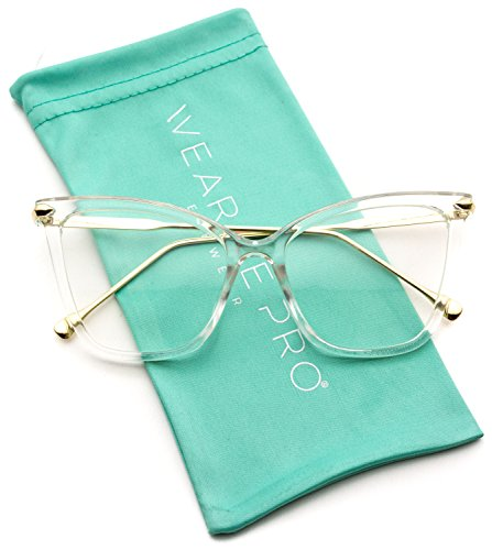 WearMe Pro - New Elegant Oversized Clear Cat Eye Non-Prescription Glasses (Clear Frame, 51)