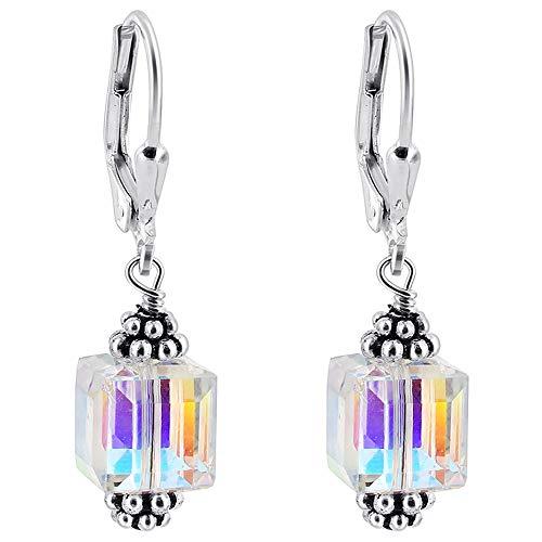 Gem Avenue Sterling Silver Leverback Swarovski Elements 8mm Clear AB Cube Crystal Handmade Drop Earrings for Women