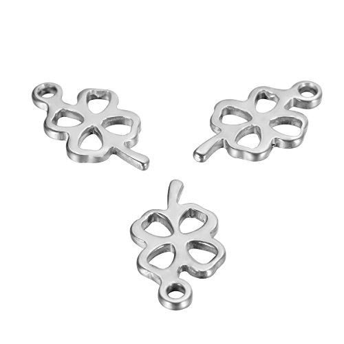 (HOUSWEETY 20Pcs Stainless Steel Hollow Four-leaf Clover Stamping Blanks Charms Pendants 12mmx7mm)
