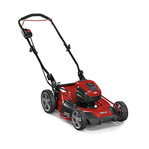 Snapper HD 48V MAX Cordless Electric 20-Inch Lawn Mower Kit with (1) 5.0 Battery and (1) Rapid Charger 3 Up to 90 minutes of run time with 5. 0 Battery under light loads** 3-in-1 mulch/bag/side-discharge options on 20-inch steel deck Intelligent load sensing technology - allows for optimum power levels while you mow for maximum efficiency