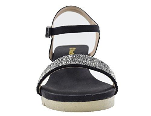 Max Muxun MaxMuxun Ladies Peep Toe Ankle Strap Rhinestone Gliter Heels Wedge Summer Sandals Black L4TETikJ