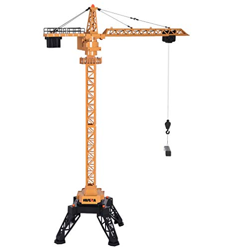 50 inch Tower Crane Construction Vehicle Playset Toy for Boys Model Car Remote Control Construction Crane Toy Engineering Vehicle RC Car(Yellow)