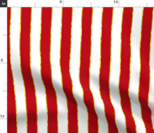 (Red and Gold Stripe Fabric - Gold Red Stripe White Red and White Gilded Print on Fabric by The Yard - Sport Lycra for Swimwear Performance Leggings Apparel Fashion)