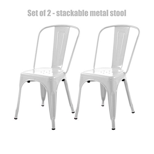 Modern Vintage Style Metal Steel Stackable Bar Stool School Office Kitchen Dining Room Counter Chair Sturdy Scratch Resistant Seats - Set of 2 White #744w