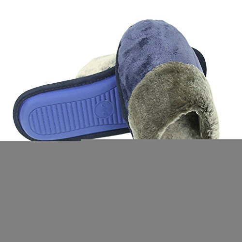 Fleece Slippers Flannel Slipper Indoor Clogs Women's Blue Dark Warm Home Plush House Winter Long 0xvI0da