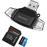 Marceloant 32GB USB Flash Drive for Phones, SD/Micro SD/TF Card Reader, Memory Card Reader for iPhone iPad iOS Android Memory Stick (Triangle Black Included 32GB TF Card)