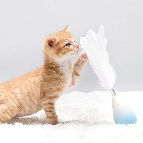 Picture of Pidan Studio Roly-Poly Feather Teaser Cat Toy with Bell (Newest Version) - Entertain Your Cat While You're Away (Blue)