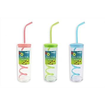 Botella de niños paja vaso Crazy Pajita Vaso de Bebidas Copa Cristal – Pajitas para fiesta