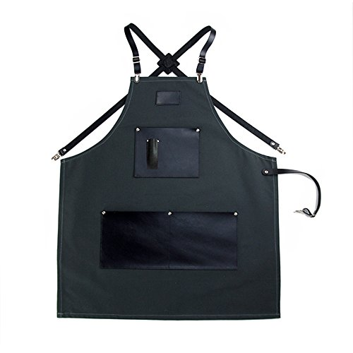 (L Size Leather Strap Brown Red Blue Gray Black Canvas Apron for Men Women Barbershop Hairdresser Women Kitchen Personalized Barbershop Coffee Leather Apron Utility Apron With Pockets (L, Dark gray))