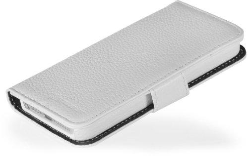 Funda de cuero genuino Stilgut Talis Book Type para Apple iPhone5 & iPhone SE de cuero original con compartimiento para tarjetas de crédito y de visita, Cognac Blanco