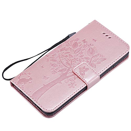 NOMO Galaxy S10 Case,Samsung S10 Wallet Case,Galaxy S10 Flip Case PU Leather Emboss Tree Cat Flowers Folio Magnetic Kickstand Cover with Card Slots for Samsung Galaxy S10 Rose Gold by NOMO (Image #4)