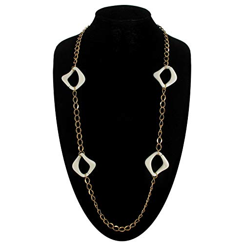 Necklace Chain New Gold Tone White Plastic Chunky Links Necklace For Women