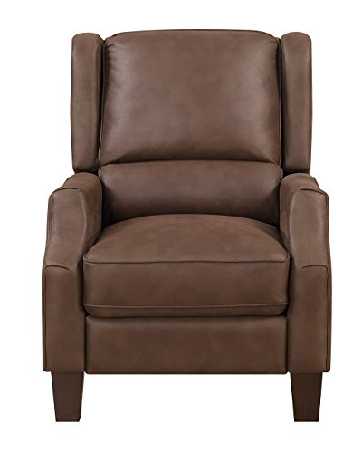 Cheap Julian Transitional Wing Back Recliner with Pocketed Coil Seating, Dark Tobacco Color