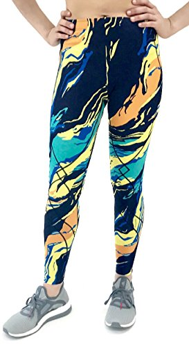 CW-X Women's Stabilyx Tights Print (Medium, Blue/Yellow Wave) by CW-X