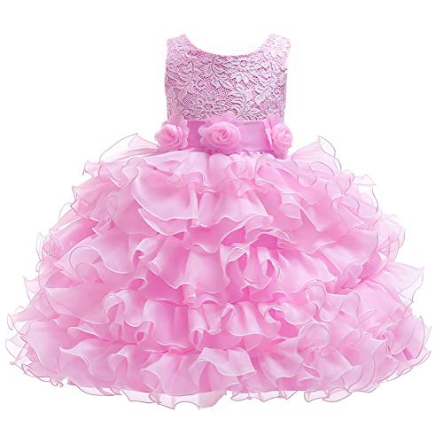 Berngi Kids Girls Lace Embroidery Flower Elegant Party Pageant Formal Tutu Wedding Princess Birthday Communion Dresses 1-2Years Pink ()