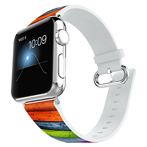 Apple Watch Band 38mm Leather + Stainless Steel Connector iWatch Band Replacement Bracelet Strap for Apple Watch Sport and Edition 38mm - Retro candy colored - Harry Potter Band Watch