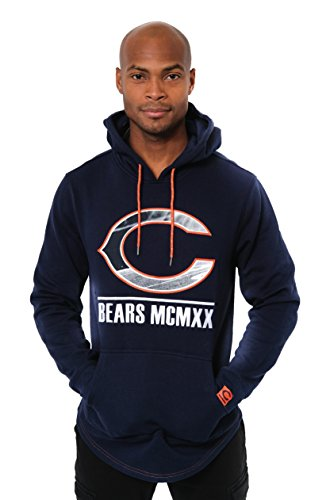 - Icer Brands NFL Chicago Bears Men's Fleece Hoodie Pullover Sweatshirt Embroidered, Medium, Navy