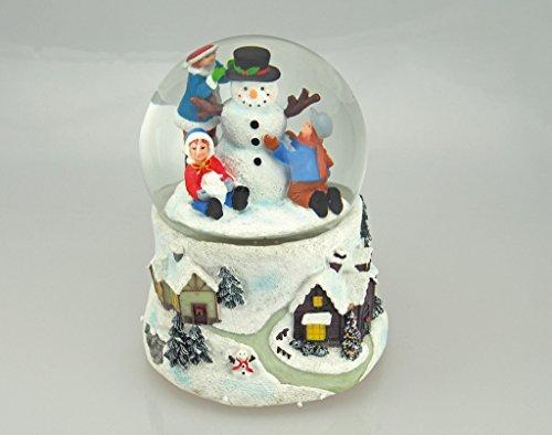 Musicbox Kingdom 56078-Snow Globe Train & Snowman with The Melody Winter Wonderland