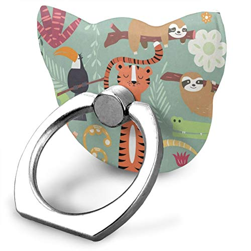 Customized Finger Ring Stand 360°Rotation Sloth Tiger Monkey in Jungle Cell Phone Ring Stand Holder Grip Universal Smartphone Ring for iPhone
