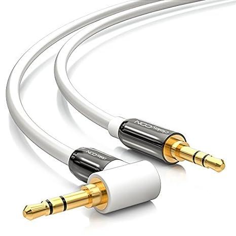deleyCON Cable de audio de 3 Metros cable de audio estéreo de 3,5mm AUX 1 conector acodado 90° para PC portátil móvil smartphone tablet coches receptor ...