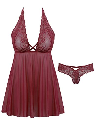 Amorbella Women's Halter Lace Babydoll Sexy Backless Lingerie Set (Small, Wine Red)