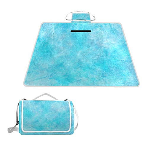 (OuLian Tiffany Blue Glitter Waterproof Picnic Blanket Lawn Blanket Sandproof Beach Blanket Travel Tent BBQ Mat Camping Tote Layers Portable Family Size Handy Mat 57