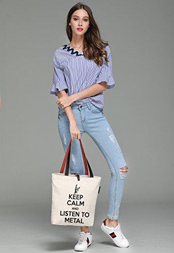 So'each Women's Raise Hands Keep Calm Top Handle Canvas Tote Shoulder Bag