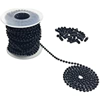 Hyamass 10 Yards 3mm Diameter Black Beaded Pull Chain Extension Ceiling Light Fan Chain with 30 Matching Connectors, Rolled Packing