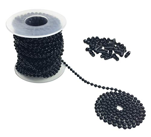 Black Chain Pull - Hyamass 10 Yards 3mm Diameter Black Beaded Pull Chain Extension Ceiling Light Fan Chain with 30 Matching Connectors, Rolled Packing