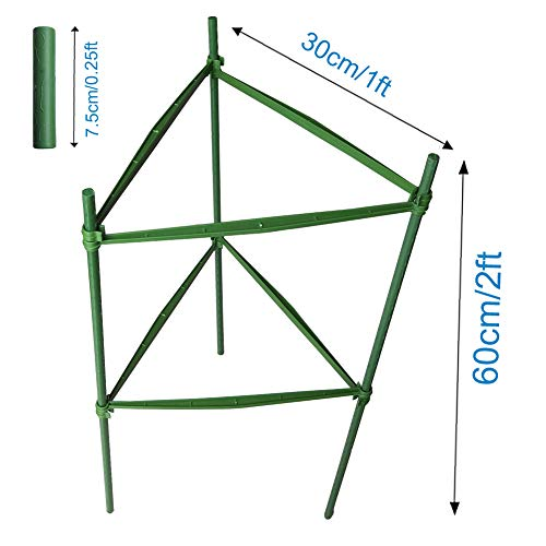 F.O.T 3-Sets Tomato Cage Plant Support Garden Stakes 2ft Long Steel with Plastic Coated Plant Sticks, Sturdy Garden Plant Support Stakes with Connecting Rod (3) by F.O.T (Image #1)