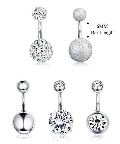 Finrezio 14G 6MM Short Length 316L Surgical Steel Belly Button Rings CZ Earring Navel Ring Body Piercing Jewelry (A: 5 PCS (Steel Mens Shorts)