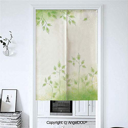 AngelDOU Apartment Decor Door Curtains Home Decor Modern Valances Fresh Foliage Design with Pastel Colored Leaves Botanic Environment Eco Purity Image Room Divider for Bedroom Kitche 33.5x47.2 inches