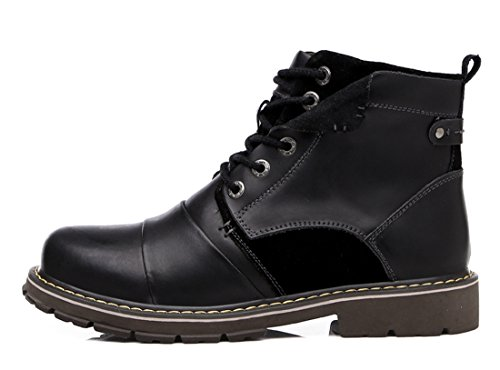 British Men's TDA Boots Shoes Slip Non Fashion Retro Tooling Black Leather Martin C5wABqw
