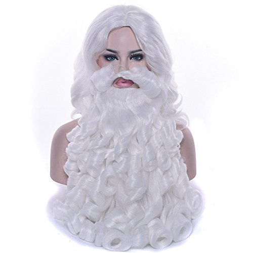 60cm Santa Claus Christmas Synthetic Hair and Beard Set White Curly Wavy Wig Christmas ()